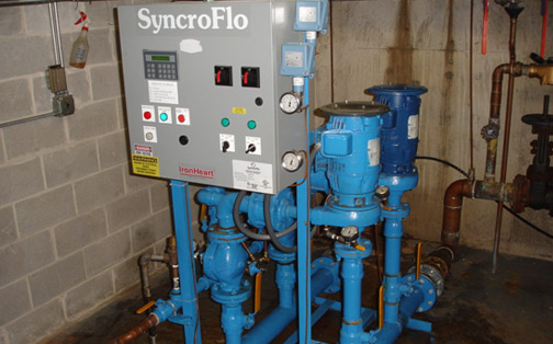 retro-fit booster pump system – SyncroFlo IronHeart, converted from simplex fixed speed to duplex VF